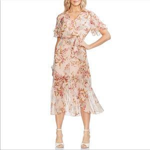 Vince Camuto Wildflower Ruffle Chiffon Dress